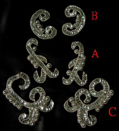 LR167 Mirrored Pairs Sequin Bead Applique Silver Mix 3pr