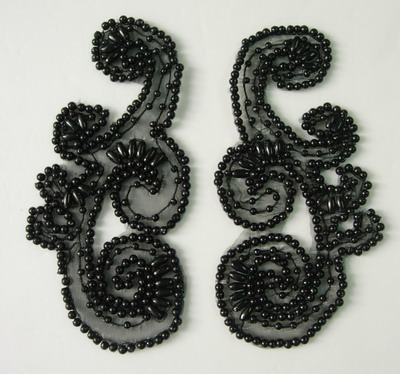 LR175 Swirl Mirror Pair Beaded Applique Motif Black