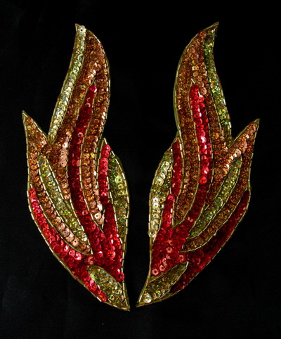 LR188 Mirror Pair Flame Sequin Bead Applique Motif Red
