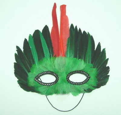 MS03 Green Black Feather Mask Festival Party Mask