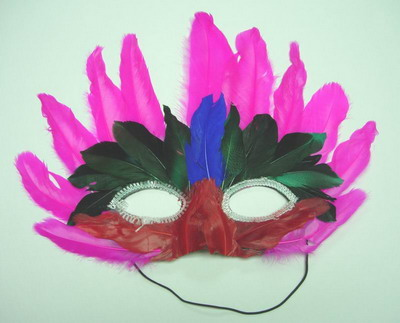 MS07 Fuchsia Feather Mask Festival Party Mask