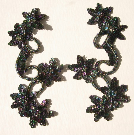 LR31 Pair Star Floral Sequin Bead Applique Black Iridescent
