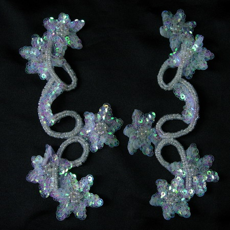 LR23 Pair Star Floral Sequin Bead Applique Crystal White