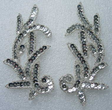 LR02 Left & Right Sequin Bead Applique Silver