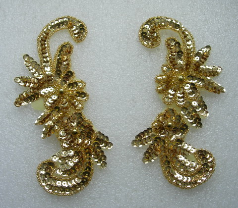 LR43 Sequin Bead Applique Left & Right Floral Gold
