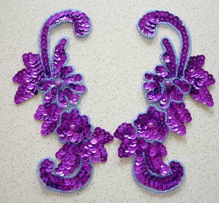 LR46 Sequin Bead Applique Left & Right Floral Purple