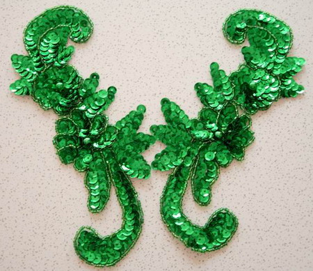 LR49 Sequin Bead Applique Left & Right Floral Green