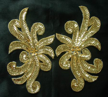 LR62 Sequin Bead Applique Gold Left & Right