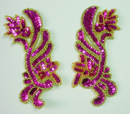 LR73 LR Floral Sequin Bead Applique Fuchsia