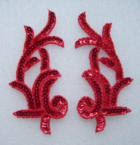 LR03 Left & Right Sequin Bead Applique Red