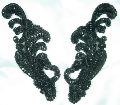 LR42 Wave Pattern LR Sequin Bead Applique Black