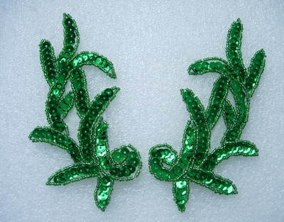 LR05 Left & Right Sequin Bead Applique Green