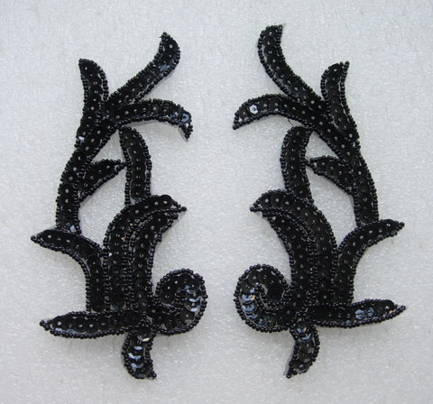 LR07 Left & Right Sequin Bead Applique Black - Click Image to Close