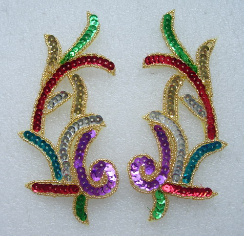LR09 Left & Right Sequin Bead Applique Multicolor