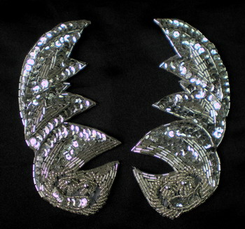 LR104 Pair Leaf Sequin Bead Bugle Applique Motif Silver