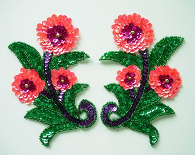 LR105 Sequin Bead Applique Pair Leaf Flower Motif Belly Dance