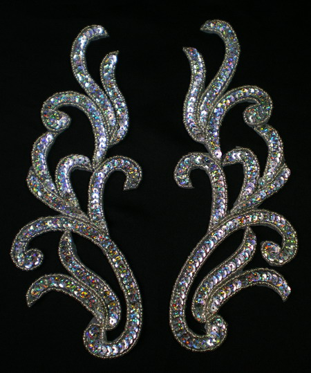 LR119 Mirror Pair Sequin Bead Applique Motif Hologram Silver