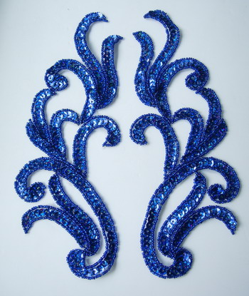 LR120-10 Mirror Pair Sequin Bead Applique Motif Royal Blue