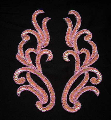LR120-11 Mirror Pair Sequin Bead Applique Motif Pink