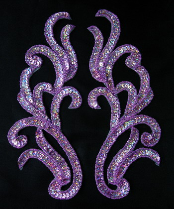 LR120-13 Mirror Pair Sequin Bead Applique Motif Lavender