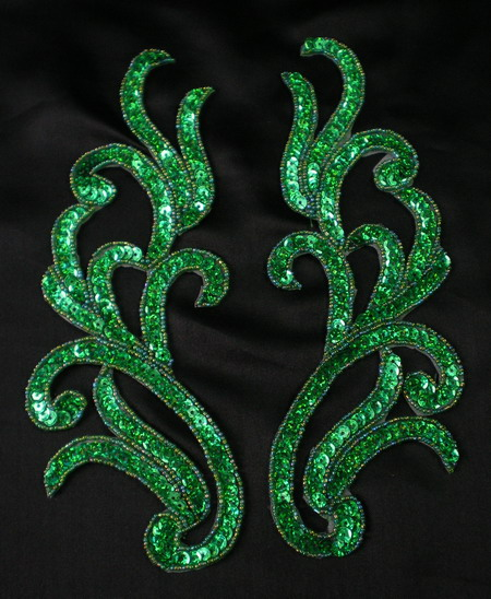 LR120-5 Mirror Pair Sequin Bead Applique Motif Hologram Green