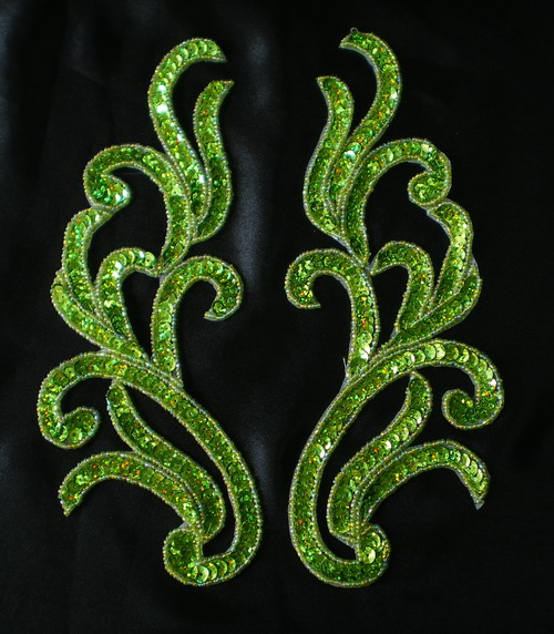 LR120-6 Mirror Pair Sequin Bead Applique Motif Hologram Lime
