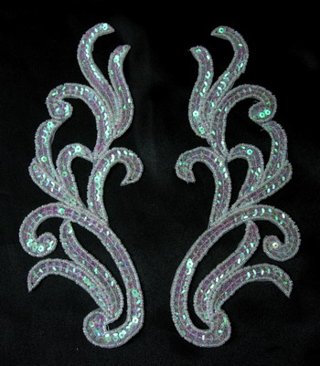 LR120-9 Mirror Pair Sequin Bead Applique Motif Crystal White