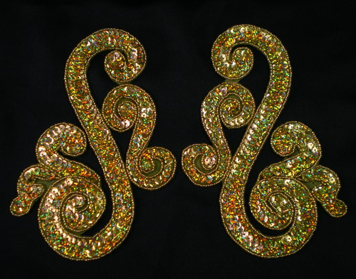 LR121 Ss Mirror Pair Sequin Bead Applique Motif Hologram Gold