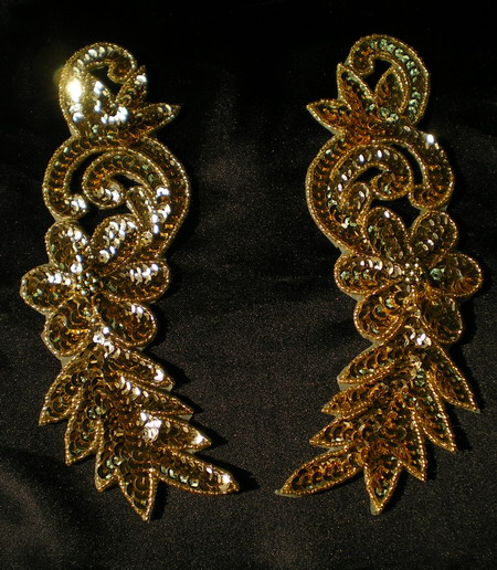 LR127 LR Floral Mirror Pair Sequin Bead Applique Motif Gold