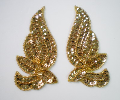LR130 Mirrored Pair Sequin Bead Applique Belly Dance Motif Gold