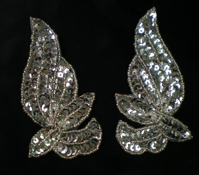LR131 Mirror Pair Sequined Beaded Applique Sew On Motif Silver