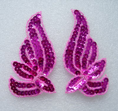 LR133 Mirrored Pair Sequin Bead Applique Belly Dance Motif Fuchs