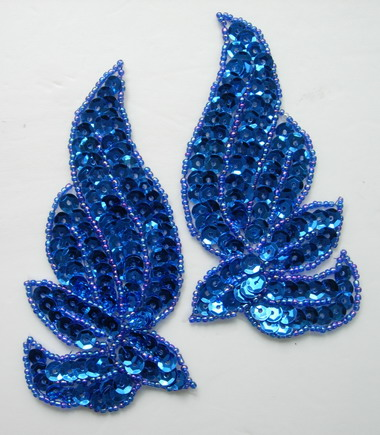 LR135-5 Mirrored Pair Sequin Bead Applique Motif Royal Blue