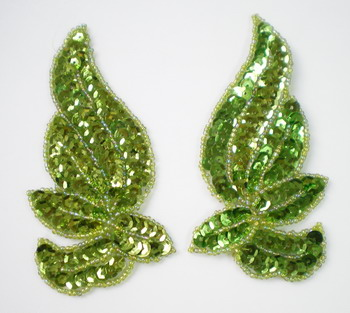LR135 Mirrored Pair Sequin Bead Applique Belly Dance Motif Lime