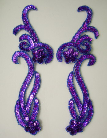LR137-10 Floral Mirror Pair Sequin Bead Applique Hologram Purple