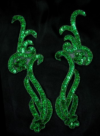 LR137-3 Mirrored Pair Sequin Bead Applique Curl Flower Green