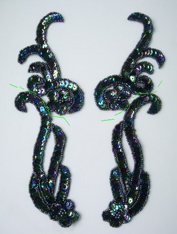 LR137-8 Mirror Pair Sequin Bead Applique Curl Flower Black Iris