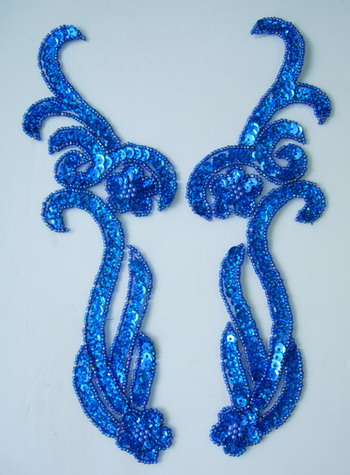 LR137-9 Floral Mirror Pair Sequin Bead Applique Hologram Blue