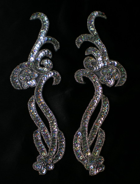 LR137 Mirrored Pair Sequin Bead Applique Curl Flower Silver