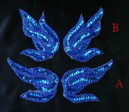 LR142-2 Royal Blue Flame Mirror Pair Sequin Bead Applique 2pair