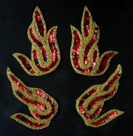LR142 Red Flame Mirror Pair Sequin Bead Applique Dancewear 2pair
