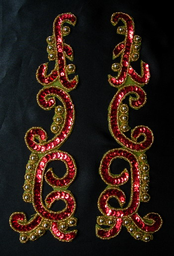 LR146-2 XL Mirror Pair Sequin Bead Applique Red Gold Dancewear
