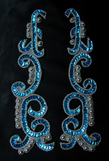 LR146-4 XL Mirror Pair Sequin Bead Applique Aqua Silver