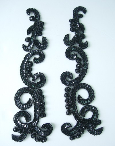 LR146-5 XL Mirror Pair Sequin Bead Applique Black