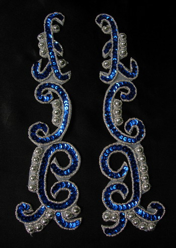 LR146-7 XL Mirror Pair Sequin Bead Applique Royal Blue