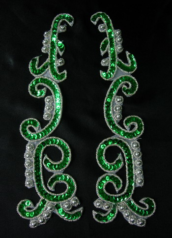 LR146-8 XL Mirror Pair Sequin Bead Applique Green