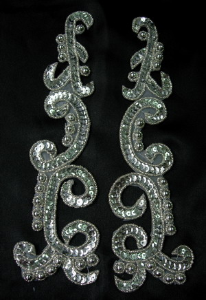 LR146 XL Mirror Pair Sequin Bead Applique Silver for Dancewear