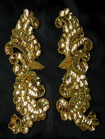 LR147 Tail Mirror Pair Sequin Bead Applique Gold Designer