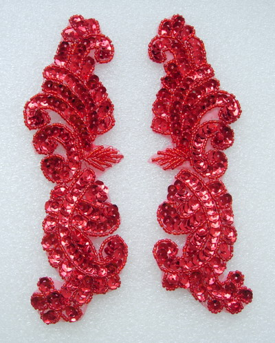 LR148-2 Left & Right Mirror Pair Sequined Beaded Applique Red