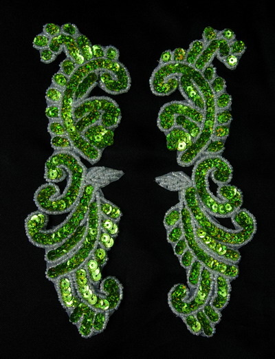 LR148-4 Left & Right Mirror Pair Sequin Bead Applique Lime